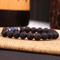 vendita calda pietra lavica perline braccialetto elastico braccialetto diffusore di olio essenziale roccia vulcanica stringhe di perline mano occhio di tigre braccialetto di pietra