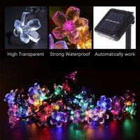 Solar String Lights 7M 50leds Peach Flower Waterproof Floral...