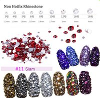 3D Nail Art strass ss3 ss4 ss5 ss6 ss10 ss12 ss16 ss16 1440 pcs Verre Gem Siam strass Non Hot-Fix Décoration Nail Art (No.11)
