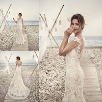 2018 Eddy K Mermaid Beach Wedding Dresses Full Lace Applique...