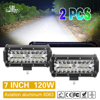 7Inch Offroad 120W LED Worklight 3-Row Spot Flood Combo Auto Light Bar pour ATV Lada Niva 4x4 Bateau Led Bar 12V 24V