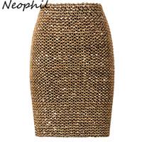 Neophil 2018 Printemps Femmes Paillettes Patchwork Shinny Crayon Mini Jupes Taille Haute Fête Sexy Bandage Filles Longues Saia S1802