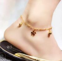 Fußkettchen für Strand Goldfarbe Münze Frauen clovers Fußkettchen nackte heiße Art und Füße frei von Versand