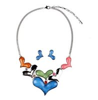 Fashion Heart Charm Womens Bib Colliers Pendentif Collier Boucles D'oreilles Set Party Dress Accessoires