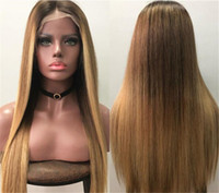 Silky Straight Hair Full Lace Wigs #1BT27 Blonde Color Malay...
