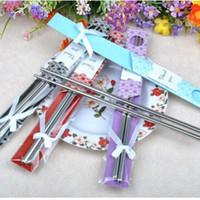 100 paia / lotto matrimonio souvenir bacchette in acciaio inox set cinese creativo piccolo regalo per decorazioni di nozze accessori