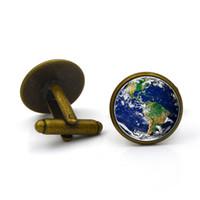 Gros-Vintage Earth Time Gem Gemme Boutons de manchette Europe et Amérique Haut de gamme Vêtements Shirt Bracelet Boutons Boutons de Manchette pour cadeau livraison gratuite
