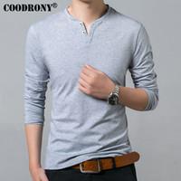 Normal Mâle T-shirt Hommes Printemps Été Nouveau À Manches Longues Henry Col T Shirt Hommes Marque Doux Pur Coton Slim Fit Tee Shirts