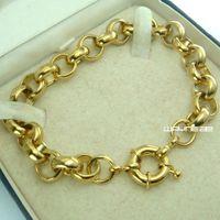 18k de oro llena Belcher hombre anillo de perno de enlace para mujer pulsera sólida jewllery B164