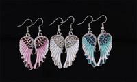 Nuova moda angelo ala orecchini per le donne di cristallo ala orecchini rosso blu bianco colore bling ala ciondola gli orecchini gioielli regalo