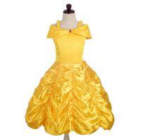 2017 Princesa Kids traje de cosplay chica amarillo fiesta de cumpleaños vestido de novia para la ropa de niña de Navidad
