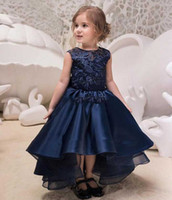 Backless Party Birthday Children Navy Blue High Low Lace Flo...