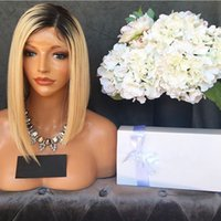 Hot Selling 14inch Short Bob Wigs Ombre Wigs Blonde Lace Fro...