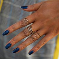 Moda de quatro camadas anel de cristal set 5 peça set feminino anel fino conjunto ornamento para jewlry das mulheres