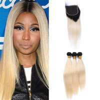 Dark Roots Blonde Lace closure y paquetes sedoso Straight Two Tone 1B 613 Ombre Malaysian Straight Hair humano teje con cierre superior