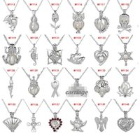 63 Style Love Wish Pearl Cages Locket Necklace Hollow Out Oy...