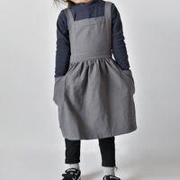 أطفال تنورة مآزر مآزر القطن الكتان بسيط غسلها للجنسين رسم الطبخ البستنة متعدد الاستخدام ZA6901