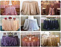 Lentejuelas mantel redondo del brillo de lentejuelas de tela tabla para la tabla de Navidad del partido banquete de bodas Runner mantel Decoración