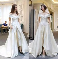 New Designer Bridal Jumpsuits Satin With Pants Wedding Dress...