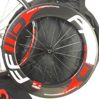 Livraison Gratuite! 700C Vélo De Route FFWW 90MM U Forme Complète En Fiber De Carbone Roues Clincher / Roue De Vélo De Route Tubulaire En Carbone