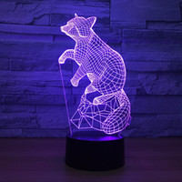 7 Color Change Lave Lamp Fox figure 3D light Sleeping Nightl...