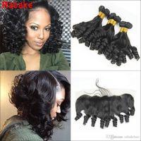 Пучки для волос тетушки Фунми с непереносимым перуанским волосом класса 8А Необработанные волосы Пучки Предложения Funmi надувные вьющиеся переплетения 13x4 Закрытие Fronal