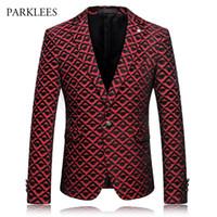 Marka Erkek Kırmızı Ekose Tasarım Düğün Balo Suit Blazer Jacekt 2018 Moda Erkekler Tek Göğüslü Bir Düğme Blazers Sahne Kostümleri