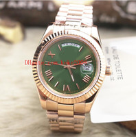 Luxury High Quality 18K Rose Gold Calendar Day Date Green Roman Dial 40mm Day Date President 228235 Asia 2813 Movimiento Mecánico Automático