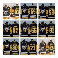 Youth 87 Sidney Crosby Jerseys Kids 2018 Pittsburgh Penguins 71 Evgeni Malkin 66 Mario Lemieux 58 Kris Letang Boy الهوكي الفانيلة