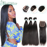 Brazilian Straight Human Hair Bundles with Closure 100% Unpr...