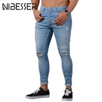NIBESSER Skinny Blue Jeans Men Autumn Vintage Denim Pencil P...