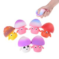 Kids Baby Toys Hot Selling 9CM Mini Cute Mushroom Gags Jokes Toy Squishy Phone Straps Slow Rising Relieve Anti Stress Reduce Autism 7Colors