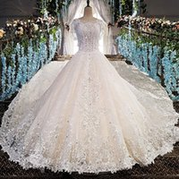 Lace Wedding Dress Cap Sleeve Luxury Long Train See Through ...
