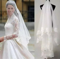 Cheap Bridal Veils Tulle with Lace Wedding Veils for Wedding Party Accessories Tulle Free Shipping In Stock