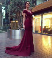 2018 Vestidos De Baile Dard Vermelho Sereia Frisada Appliqued Ruched Sweep Train Elástico Crepe Vestidos De Noite Vestidos De Celebridades Aslihan Guner