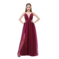 2019 Tule Vermelho Escuro Baratos Vestidos de Noite V Neck Fino Cintas Sexy Borgonha Prom Party Vestidos