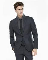 2018 Black Men Suits Blazer Ternos de casamento formal Custom Made Tailored Smoking 2 Pieces Slim Fit Formal Groomsman Prom Best Man jacket + pants