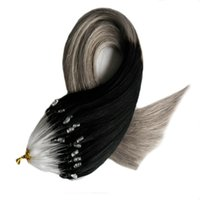 Ombre capelli estensioni micro loop estensioni dei capelli umani 100s 100g 1g / s micro estensioni dei capelli tallone T1b / grigio