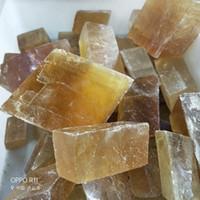 Natürliche Rohsteine Calcit Rough Rock Crystals zum Taumeln, Cabbing, weiß und gelb Calcit, 1 Pfund (ca. 460 Gramm)