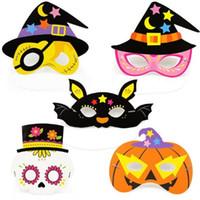 Halloween Máscara De Papel Dos Desenhos Animados Crianças Masquerade Máscaras de Olho Carnaval Máscaras Do Partido Bat Witch Máscaras de Abóbora Do Crânio Do Pirata