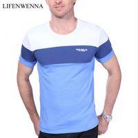 Лето мужская футболка 2018 новая мода полосатый футболка мужская одежда тенденция Slim Fit с коротким рукавом повседневная мужская топ футболка 5XL