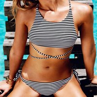 A1256 Women' s Striped Vest With Sexy Two- piece Swimsuit...