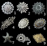 Large Alloy Bouquet Brooch Clear Rhinestone Flower Party Wed...