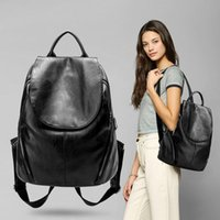50pcs Classic Black PU Backpack Bag Women Plain Large Capaci...