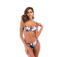 Conjuntos Sexy Coco impresión de la correa sin respaldo Bikinis Set de playa del verano del desgaste del traje de baño bajo la cintura de las mujeres de deportes acuáticos de baño atractivo Bikinis