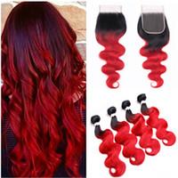 Ombre Kırmızı Brezilyalı İnsan Saç Kapatma ile Kapatma Vücut Dalga Bakire Saç Kapatma ile 4 Demetleri 1B / Kırmızı Ombre 4x4 Örgü ile Dantel Kapatma