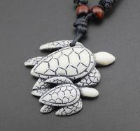 Punk viento! Collar colgante tortuga Moda amantes del mar resina de hueso tallado de madera de imitación collar de la gota Usted puede ajustar el tamaño de la cuerda