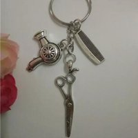 Kuaför hediye-ScissorsComb Anahtarlık CharmHair kurutma Kolye Dekoratif Anahtarlık Tuşları Araba Anahtarlık Hatıra Çift Çanta Anahtarlık-45