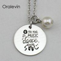 Высокое качество, если вы слышите музыку танец вдохновляющие ручной штамповкой выгравированы кулон женский ожерелье подарок ювелирные изделия,18 дюймов,22 мм,10 шт./лот, #LN2204