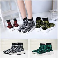 Luxury Sock sneakers for women stretch knit grid black green...